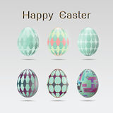 Set of six easter eggs Stock Image