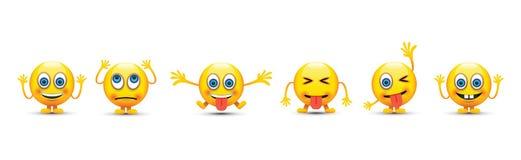 Set of six emoji icons Stock Image
