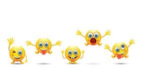 Set of six emoji icons Stock Photography