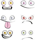 Set of six emotions. Cartoon style isolated on white Royalty Free Stock Photo