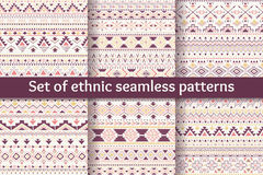 Set of six ethnic seamless patterns. Stock Photo