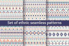 Set of six ethnic seamless patterns. Royalty Free Stock Photo