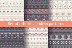 Set of six ethnic seamless patterns. Stock Images