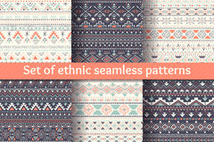 Set of six ethnic seamless patterns. Stock Image