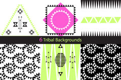 Set of six ethnic tribal vector backgrounds Royalty Free Stock Photos