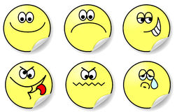 Set of six expressions of emotion vector Royalty Free Stock Image