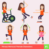 Set of six fitness female characters 1 Stock Photos