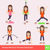 Set of six fitness female characters 1 Royalty Free Stock Images