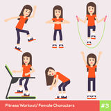 Set of six fitness female characters 1 Stock Image