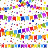 Set of six flat colored garlands isolated in the form of flags on a rope. On the background of colorful confetti. Suitable for. Design vector illustration