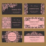 Set of six floral vintage business cards Stock Photos