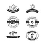 Set of six flower shop template labels Stock Images