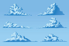 Set of six fluffy clouds. Set of six vector fluffy cumulus clouds Stock Photos