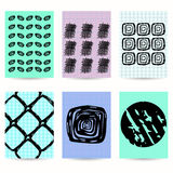 Set of six flyers. Pastel colors. Black hand drawings. Stock Image