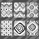 Set of six flyers. White backgrond. Black hand drawings. Stock Image