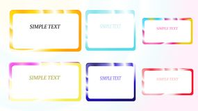 A set of six frames of rectangular and square, edging gradient metallic shiny shining frames with overflows, reflows of abstract, Stock Photography