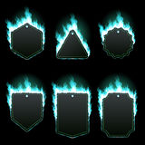 Set of six frames surrounded with azure flame. Set of six frames of different shapes with text space surrounded with realistic azure flame isolated on black Stock Photography