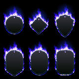 Set of six frames surrounded with blue flame. Set of six frames of different shapes with text space surrounded with realistic blue flame isolated on black Stock Photo
