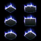 Set of six frames surrounded with blue flame. Set of six frames of different shapes with text space surrounded with realistic blue flame isolated on black Royalty Free Stock Images
