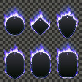 Set of six frames surrounded with blue flame. Set of six frames of different shapes with text space surrounded with realistic blue flame isolated on transparent Stock Photo