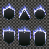 Set of six frames surrounded with blue flame. Set of six frames of different shapes with text space surrounded with realistic blue flame  on transparent Stock Image