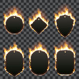Set of six frames surrounded with flame. Set of six frames of different shapes with text space surrounded with realistic flame isolated on transparent background Stock Image
