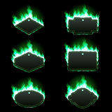 Set of six frames surrounded with green flame. Set of six frames of different shapes with text space surrounded with realistic green flame isolated on black Royalty Free Stock Image