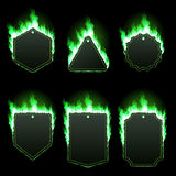 Set of six frames surrounded with green flame. Set of six frames of different shapes with text space surrounded with realistic green flame isolated on Stock Photos