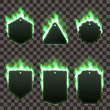 Set of six frames surrounded with green flame. Set of six frames of different shapes with text space surrounded with realistic green flame  on transparent Royalty Free Stock Photo