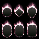 Set of six frames surrounded with pink flame. Set of six frames of different shapes with text space surrounded with realistic pink flame isolated on black Royalty Free Stock Photography