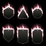 Set of six frames surrounded with pink flame. Set of six frames of different shapes with text space surrounded with realistic pink flame isolated on black Stock Images