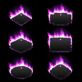Set of six frames surrounded with purple flame. Set of six frames of different shapes with text space surrounded with realistic purple flame isolated on black Royalty Free Stock Photography