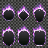 Set of six frames surrounded with purple flame. Set of six frames of different shapes with text space surrounded with realistic purple flame isolated on Royalty Free Stock Photos