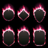 Set of six frames surrounded with red lame. Set of six frames of different shapes with text space surrounded with realistic red flame isolated on black Stock Photography