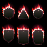 Set of six frames surrounded with red lame. Set of six frames of different shapes with text space surrounded with realistic red flame isolated on black Royalty Free Stock Photography