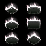 Set of six frames surrounded with white flame. Set of six frames of different shapes with text space surrounded with realistic white flame isolated on black Stock Photos