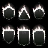 Set of six frames surrounded with white flame. Set of six frames of different shapes with text space surrounded with realistic white flame isolated on black Stock Photo