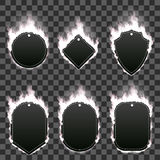 Set of six frames surrounded with white flame. Set of six frames of different shapes with text space surrounded with realistic white flame isolated on Royalty Free Stock Images