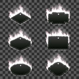 Set of six frames surrounded with white flame. Set of six frames of different shapes with text space surrounded with realistic white flame isolated on Royalty Free Stock Photo