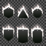 Set of six frames surrounded with white flame. Set of six frames of different shapes with text space surrounded with realistic white flame  on transparent Stock Images