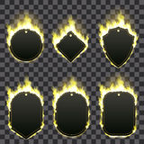 Set of six frames surrounded with yellow flame. Set of six frames of different shapes with text space surrounded with realistic yellow flame isolated on Royalty Free Stock Image