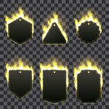Set of six frames surrounded with yellow flame. Set of six frames of different shapes with text space surrounded with realistic yellow flame  on transparent Stock Photos