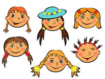 Set of six funny girls faces Stock Image