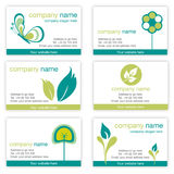 Set of six gardening and nature business cards Stock Photos
