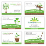 Set of six gardening and nature business cards royalty free illustration