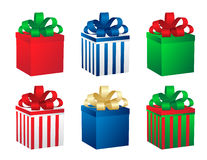 Set of six gift boxes. Vector. Royalty Free Stock Photo