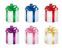 Set of six gift boxes. Vector. Stock Images