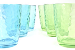 Set of six glass mugs Royalty Free Stock Photos