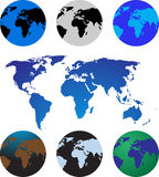 Set of six globes with world map Royalty Free Stock Images