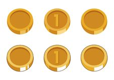Set of six gold coins. royalty free illustration